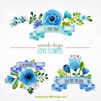 Ornamentos florales de acuarela