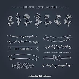 Ornamentos florales dibujados a mano