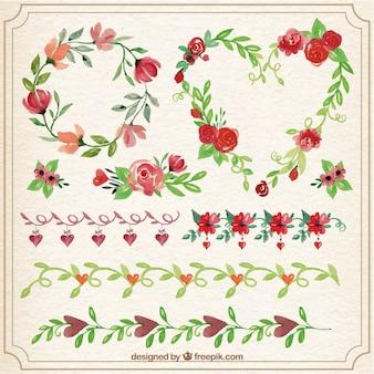 Ornamentos florales para el día de san valentín