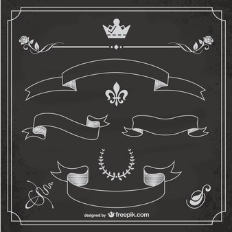 Ornamentos vectoriales con textura de pizarra