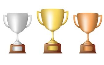 Oro plata de bronce metálico trofeo taza conjunto aislado ilustración vectorial