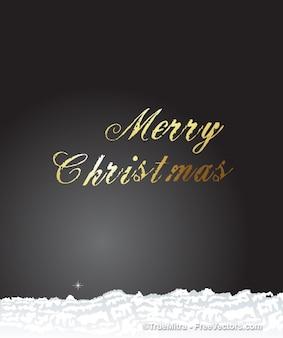 Oro tarjeta de Navidad con nieve