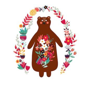 Oso con flores