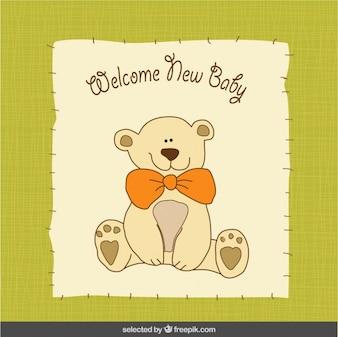 Oso de peluche Tarjeta de bienvenida del bebé
