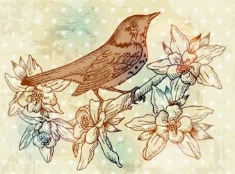 Otoño de arte de la flor de fondo conjunto vector de aves