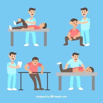 Paciente haciendo ejercicio con el fisioterapeuta
