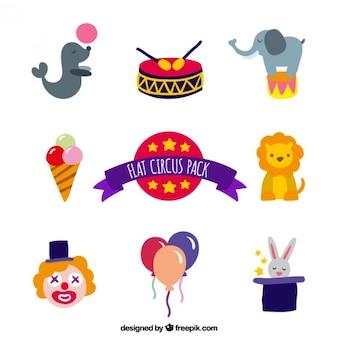 Pack bonito de elementos de circo