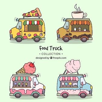 Pack clásico de food trucks dibujados a mano