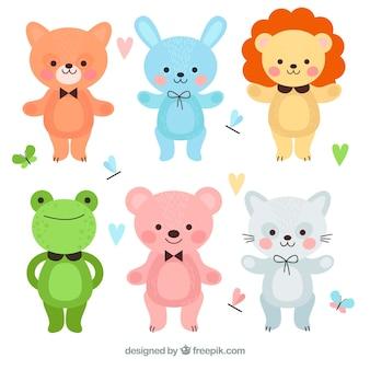 Pack colorido de animales de dibujos animados