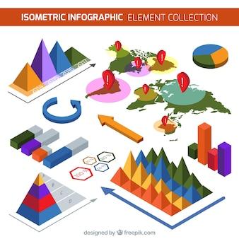 Pack colorido de elementos infográficos isométricos