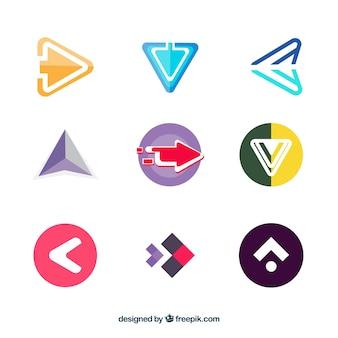 Pack colorido de flechas futuristas