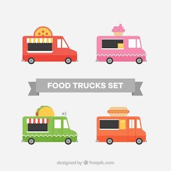 Pack colorido de food trucks planos