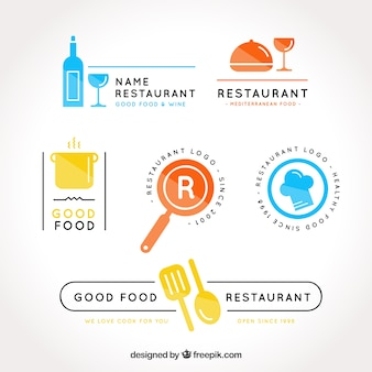 Pack colorido de logos de restaurante