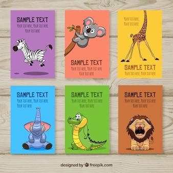 Pack con estilo de tarjetas de animales divertidas