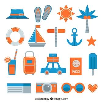 Pack de accesorios de verano en diseño plano