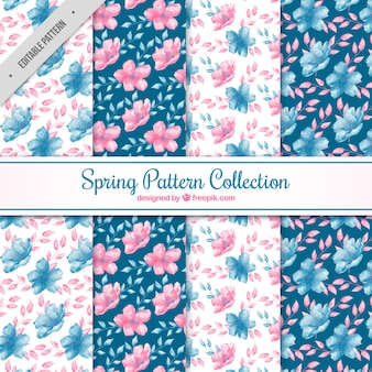 Pack de acuarela de patrones de primavera