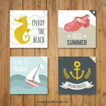 Pack de adorables tarjetas de verano en estilo vintage