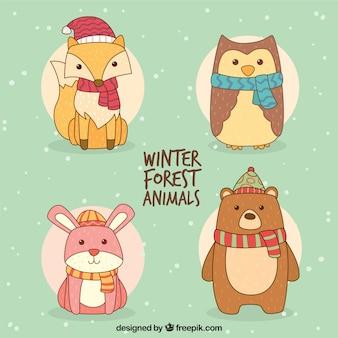 Pack de animales adorables dibujados a mano con bufanda y gorro