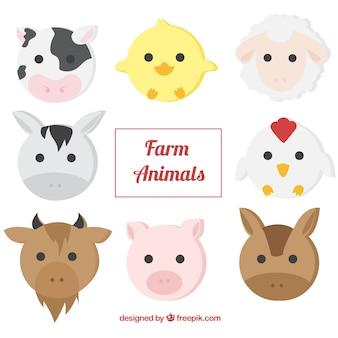 Pack de animales de granja en diseño plano