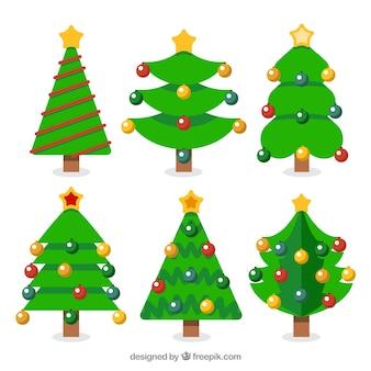 Pack de árboles de navidad con bolas de colores
