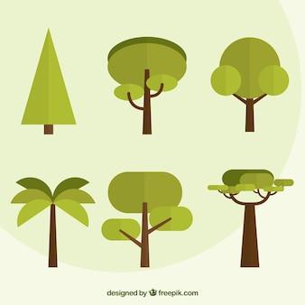 Pack de árboles en diseño plano