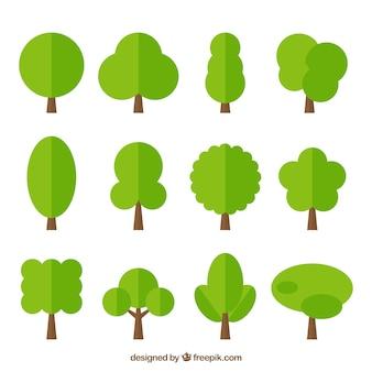 Pack de árboles verdes en diseño plano
