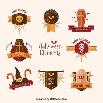 Pack de artículos de halloween con detalles dorados