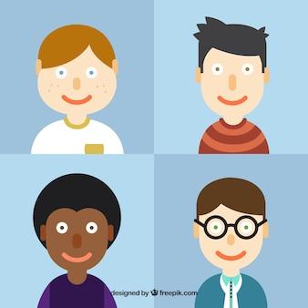 Pack de avatares de chicos en diseño plano