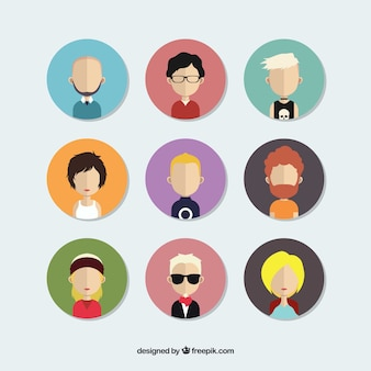 Pack de avatares de personas en diseño plano