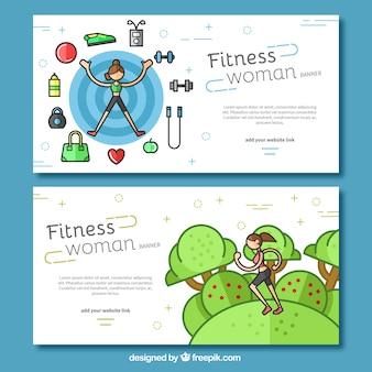Pack de banners con artículos de fitness y una mujer corriendo