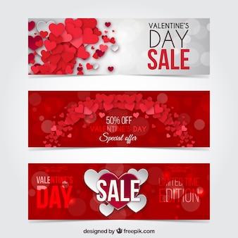 Pack de banners de descuento rojos del día de san valentín