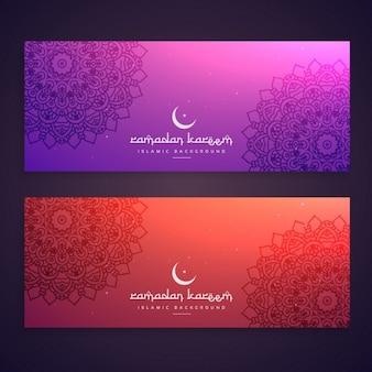 Pack de banners de ramadan con mandalas