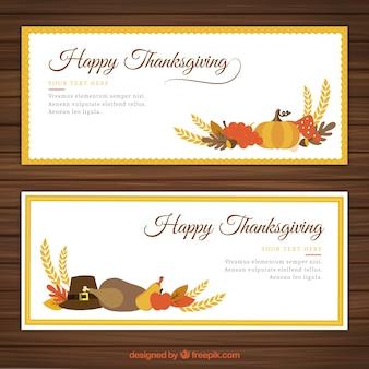 Pack de banners planos de Acción de gracias