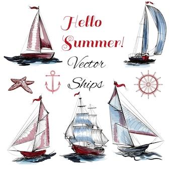 Pack de barcos de vela dibujados a mano