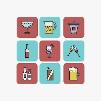Pack de bebidas en estilo lineal