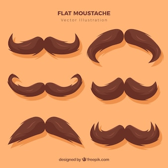 Pack de bigotes de color marrón