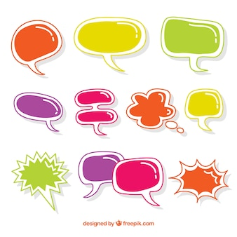 Pack de bocadillos de diálogo de colores dibujados a mano