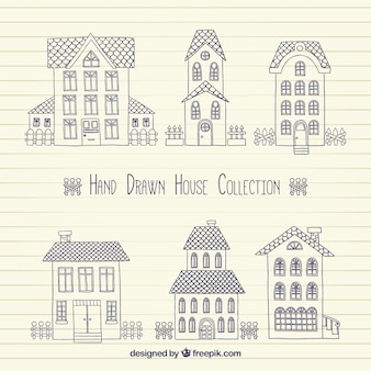 Pack de bocetos de casas en estilo vintage