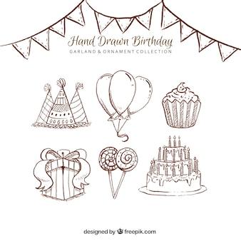 Pack de bocetos de elemnentos para fiesta de cumpleaños