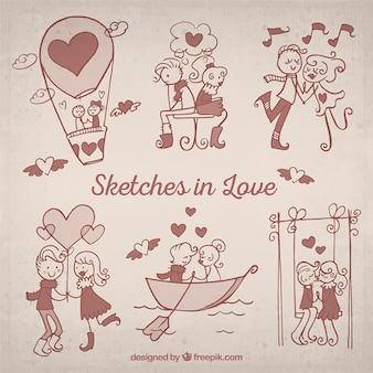 Pack de bocetos de enamorados