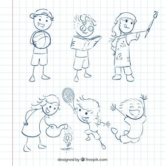 Pack de bocetos de niños