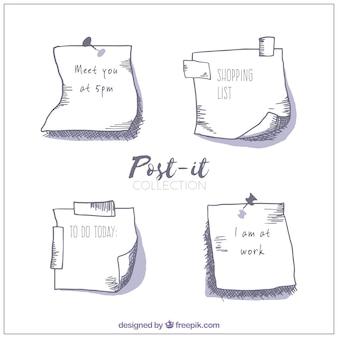 Pack de bocetos de notas adhesivas