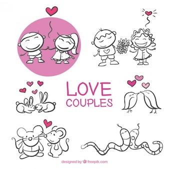 Pack de bocetos de parejas enamoradas