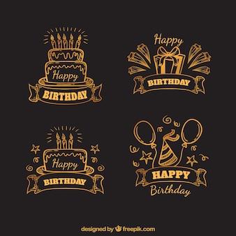 Pack de bocetos de pegatinas retro de cumpleaños