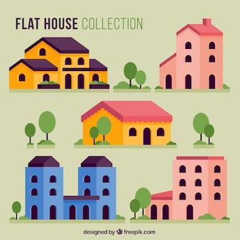 Pack de bonitas casas de colores en diseño plano