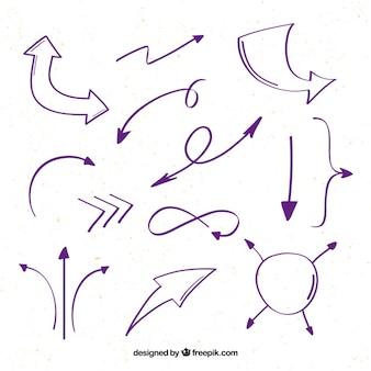 Pack de bonitas flechas dibujadas a mano
