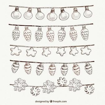 Pack de bonitas guirnaldas de luces de navidad dibujadas a mano