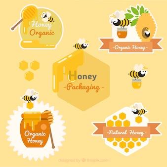 Pack de bonitas pegatinas de miel con simpática abeja