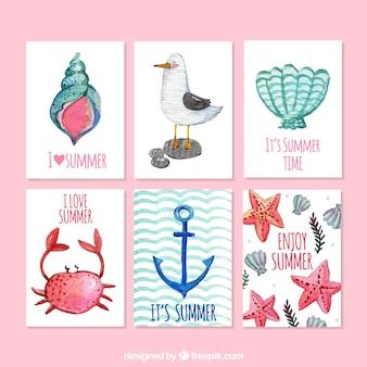 Pack de bonitas tarjetas de acuarela de verano
