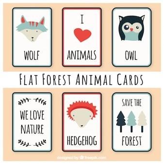 Pack de bonitas tarjetas de animales del bosque